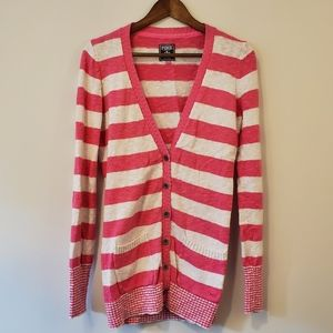 PINK pink and white v-neck cardigan sweater m